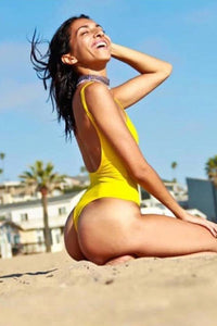 Yellow Low Back Thong Bodysuit