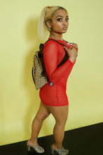 Load image into Gallery viewer, Red Mesh Dress