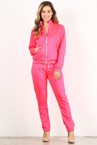 Neon Pink Tracksuit Set