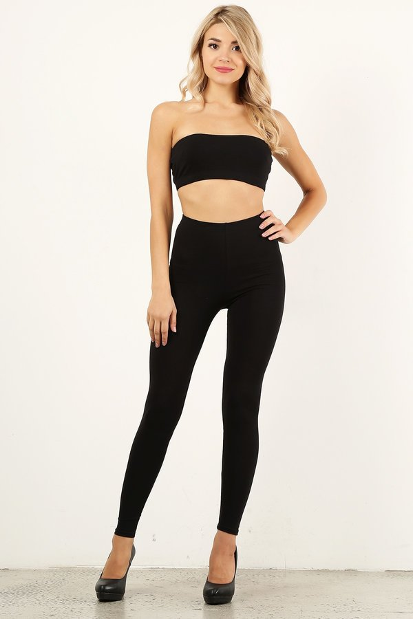 Black Bandeau Legging Set