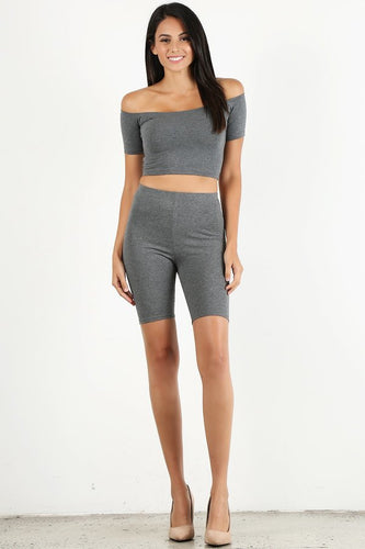 Dark Grey Off-the Shoulder Biker Set