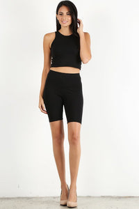 Black Sleeveless Biker Set