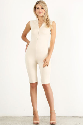 Light Beige Biker Unitard