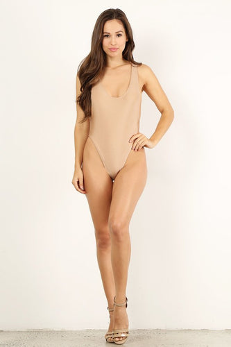 Beige One Piece Bathing Suit