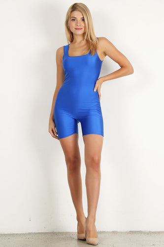 Aqua Shiny Short Unitard