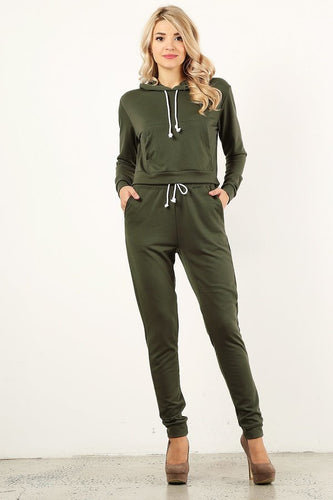 Cargo Green Sweat Suit Set