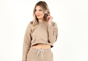 Heather Grey Crop Crew Neck Sweater