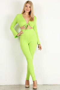 Lime Green 2pc Top Flare Set