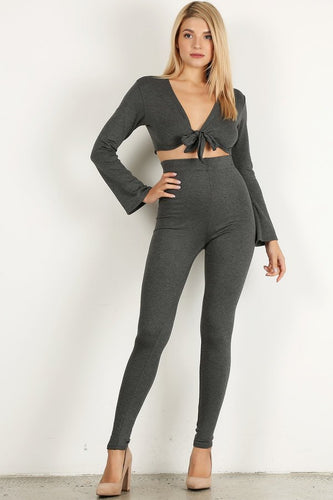 Dark Grey 2pc Top Flare Set