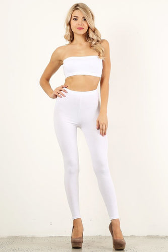 White Bandeau Legging Set