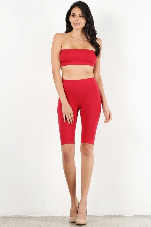 Red Bandeau Legging Set