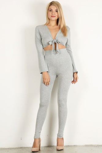 Heather Grey 2pc Top Flare Set