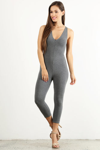 Grey Capri Unitard
