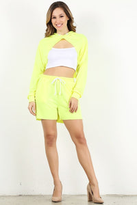 Neon Yellow Crop Hoodie Set