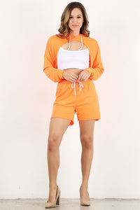 Neon Orange Crop Hoodie Set