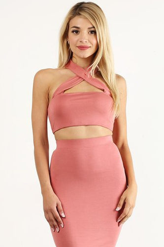 Salmon Front Crossed Crop Top
