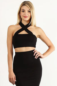 Black Front Crossed Crop Top