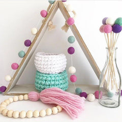 free pom pom garland string DIY kit pinks and purples