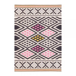 "120 x 170 cm / Colourful Black 100% Cotton ""Coord"" Aztec Moroccan Geometric Rug - Pebble & Leaf HomeRugs"