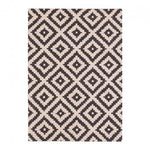 120 x 170 cm / Black Natural 100% Wool Coord Diamond Geometric Rug - Pebble & Leaf HomeRugs