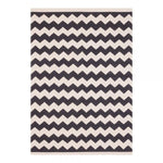 120 x 170 cm / Black Natural Zigzag 100% Cotton Coord Zigzag Geometric Rug - Pebble & Leaf HomeRugs