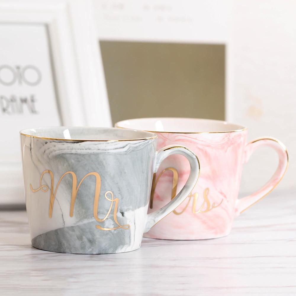 Handpainted Gold Monogram Natural Marble Coffee Mug Mr and Mrs - Pebble & Leaf Home