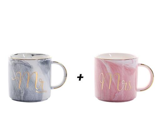 Grey Mr + Mrs Pink Luxury Mr & Mrs Pink Blue Grey White Marbled Gold Coffee Tea Cup - Pebble & Leaf HomeLuxury