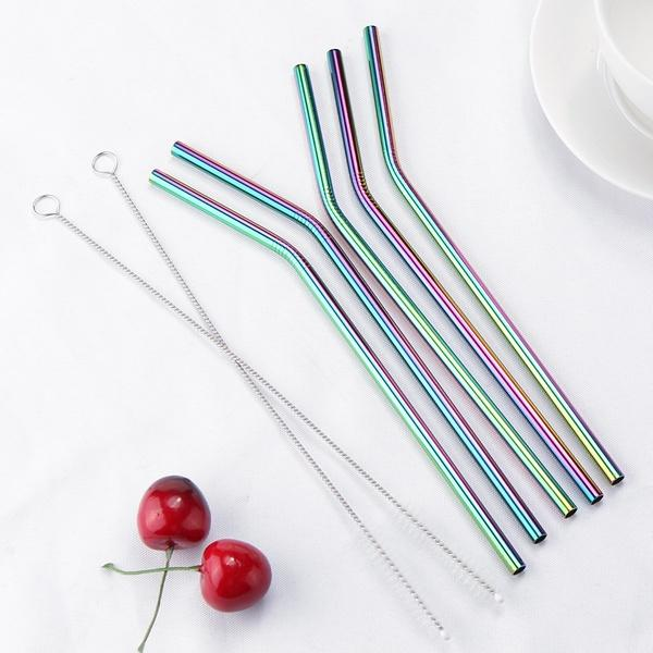 5 / Curved / Multi Colour Multi Rose Gold Copper Black Silver Eco Stainless Reusable Straws - Pebble & Leaf Home