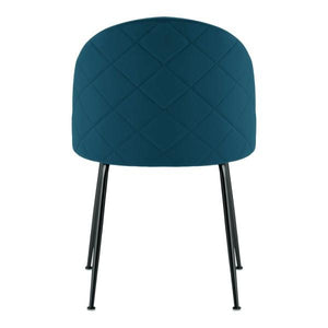 Teal / Black Shades of Blue Teal Purple Luxe Diamond Velvet Dining Chair Copper Gold Brass Black Leg - Pebble & Leaf HomeFurniture
