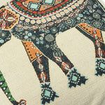 Vintage Indian Elephant Cotton Linen Pillow Cases Sofa Waist Cushion Cover Home Office Decor - Pebble & Leaf Ltd