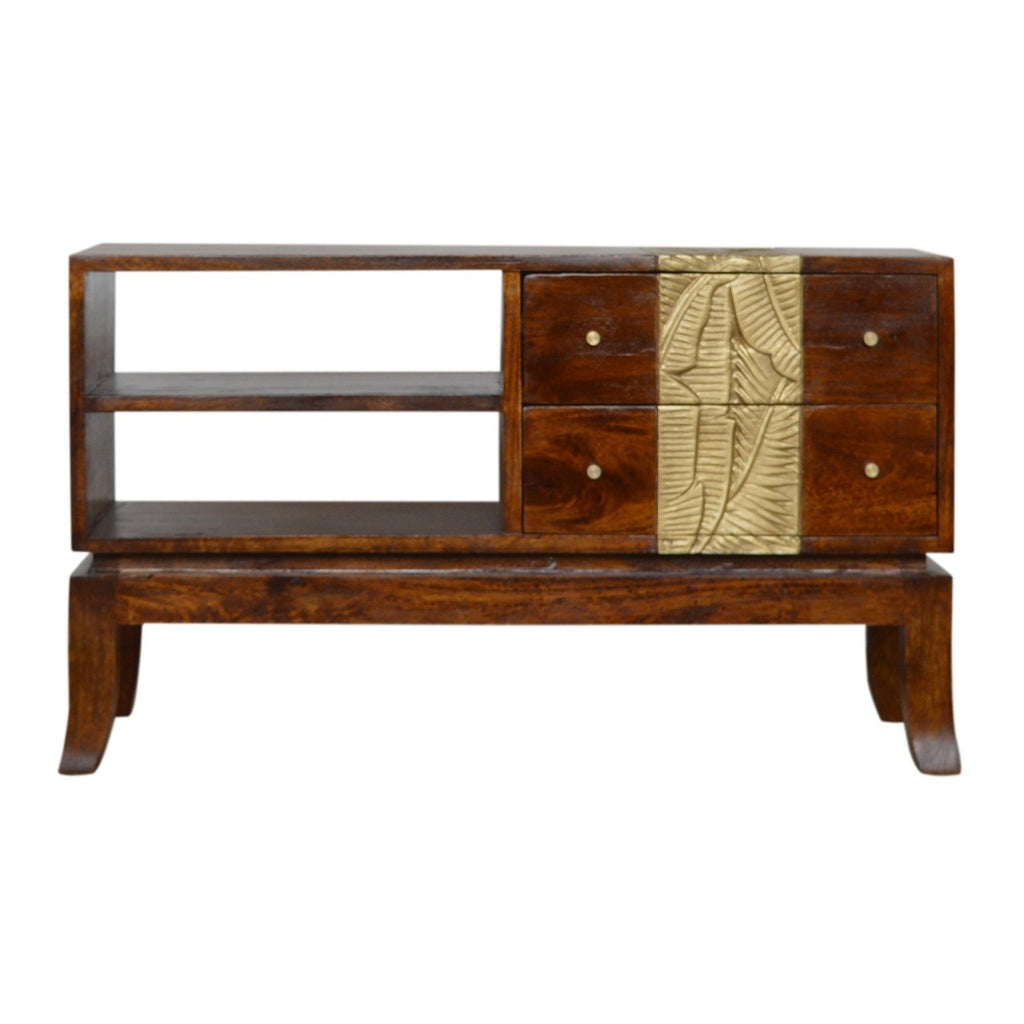 2 Drawer Shelf Tropical Leaf Carved Chestnut Brass Luxury Media Unit Table Eco Sustainable 100% Solid Mango Wood