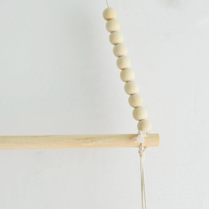 NATURAL WOOD Free Offer! Nordic Scandinavian Wooden Wall Beaded Swing Shelf - Pebble & Leaf Home