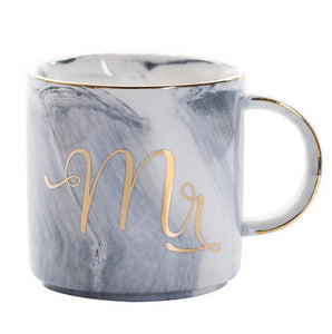 Grey Gold Mr Luxury Mr & Mrs Pink Blue Grey White Marbled Gold Coffee Tea Cup - Pebble & Leaf HomeLuxury