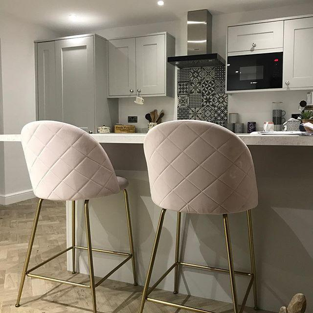 Pale Blush Pink Luxe Diamond Velvet Bar Stool 65 - 75cm Gold Brass Leg - Pebble & Leaf HomeFurniture