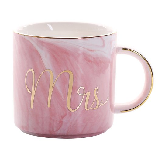 Pink Gold Mrs Luxury Mr & Mrs Pink Blue Grey White Marbled Gold Coffee Tea Cup - Pebble & Leaf HomeLuxury