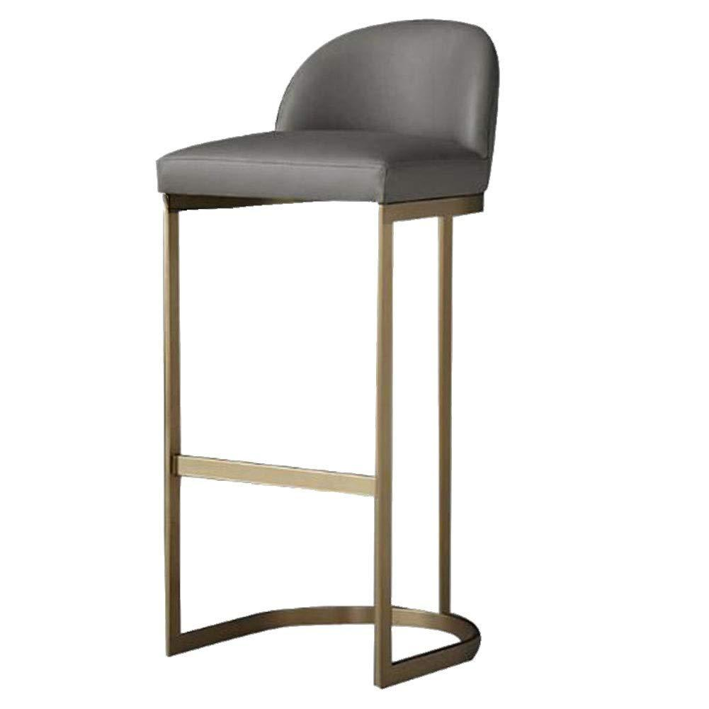 Grey Monte Carlo Luxe Faux Leather Gold Brass Leg Under Counter Bar Stool Chairs 65cm - 75cm