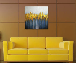 Large Abstract Grey Gold Ochre Yellow Blue Grey Oil Canvas Painting Framed 60x60cm - Pebble & Leaf HomeArt