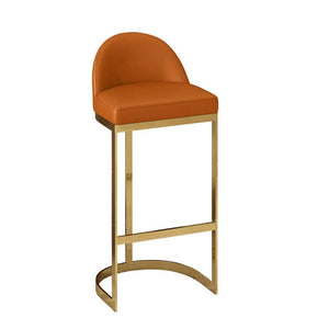 Monte Carlo Faux Leather Luxe Gold Brass Leg Under Counter Bar Stool Chairs 65cm - 75cm Multiple Colours