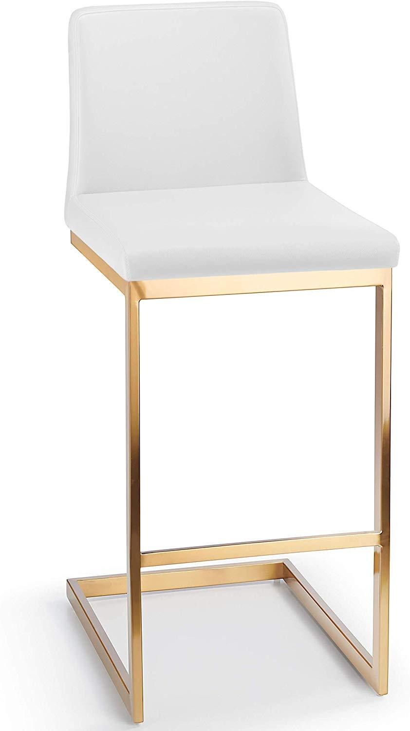 Monaco Luxe Velvet or Faux Leather Luxury Cantilever Golden Brass Bar Stool