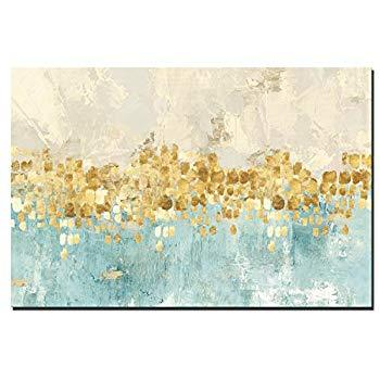 Standard Delivery / 50 X 70cm Unframed Large Hues of Gold Blue Beige Cream Drops Large Framed / Unframed Abstract Canvas - Pebble & Leaf HomeWall Art