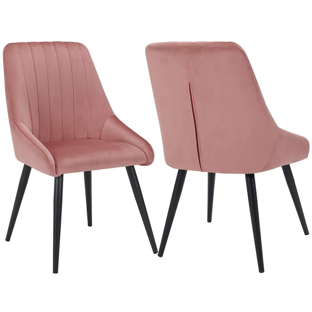 Default Title Lady Penelope Velvet Blossom Blush Pink Dining Chair Dark Wood Leg - Pebble & Leaf Home