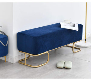 Blue Velvet Luxe Hall Bench / 120cm x 40cm x 42.5cm Dark Blue Luxe Revival Velvet Gold Modern Art Deco Ottoman Hall Bench - Pebble & Leaf HomeFurniture