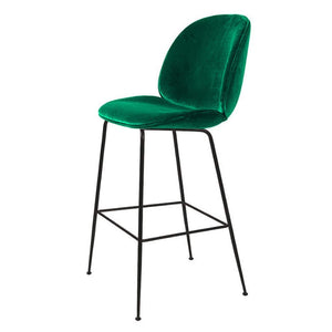 Velvet Bar Stool Modern Design Kitchen Breakfast Dining Chair Barstools Chair with Back and Footrest Black Metal Legs High Stool for Pub Bar Bistro Counter Height, Green