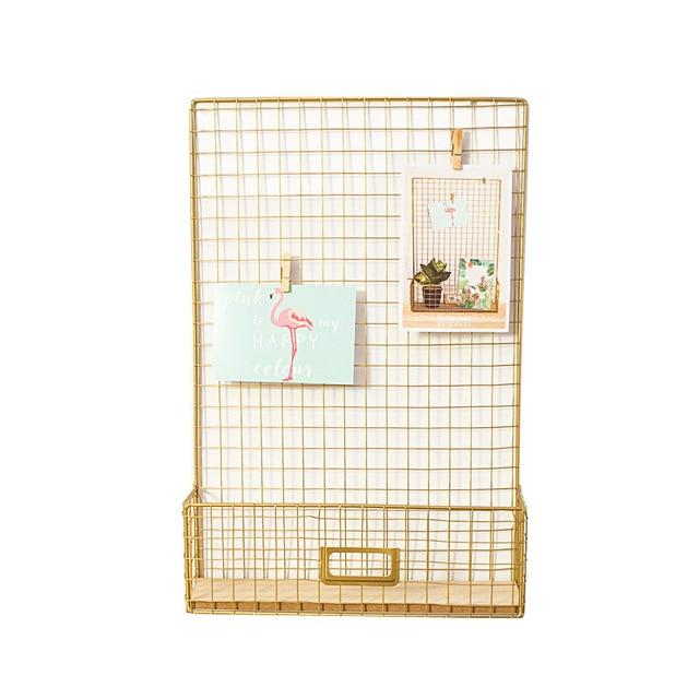 Gold Free Offer! Nordic Style Gold Grid Message Photo Display Letter Rack - Pebble & Leaf Home