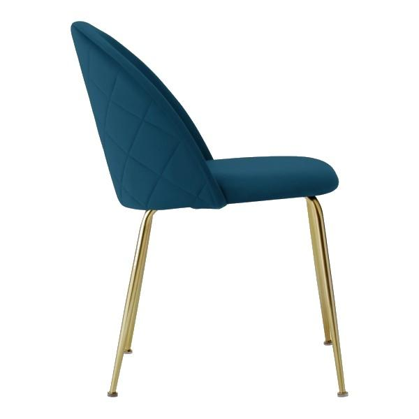 Teal / Gold Brass Shades of Blue Teal Purple Luxe Diamond Velvet Dining Chair Copper Gold Brass Black Leg - Pebble & Leaf HomeFurniture