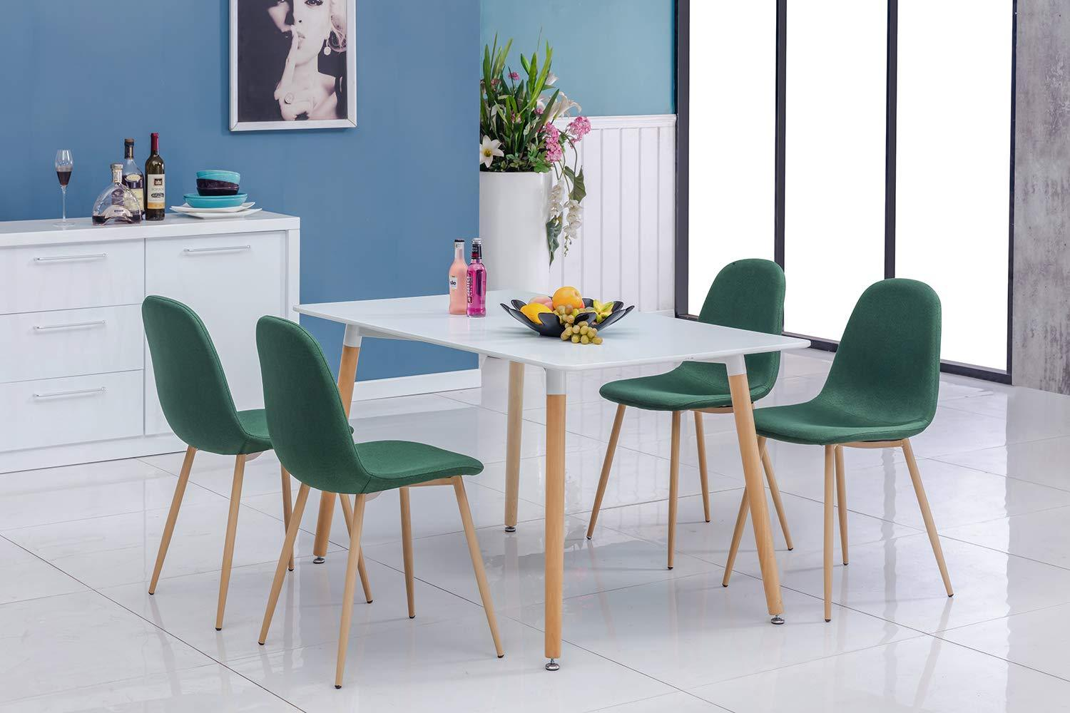 Green Velvet Luxe Revival Gold Wooden Legs Modern Art Deco Dining Chairs 4pc - Pebble & Leaf Home
