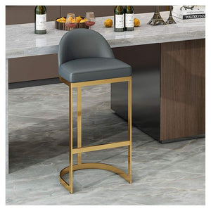 Luxe Curve Cantilever Gold Brass C Leg Bar Stool Chairs High Back Orange, Grey, Blue, White 65cm 75cm