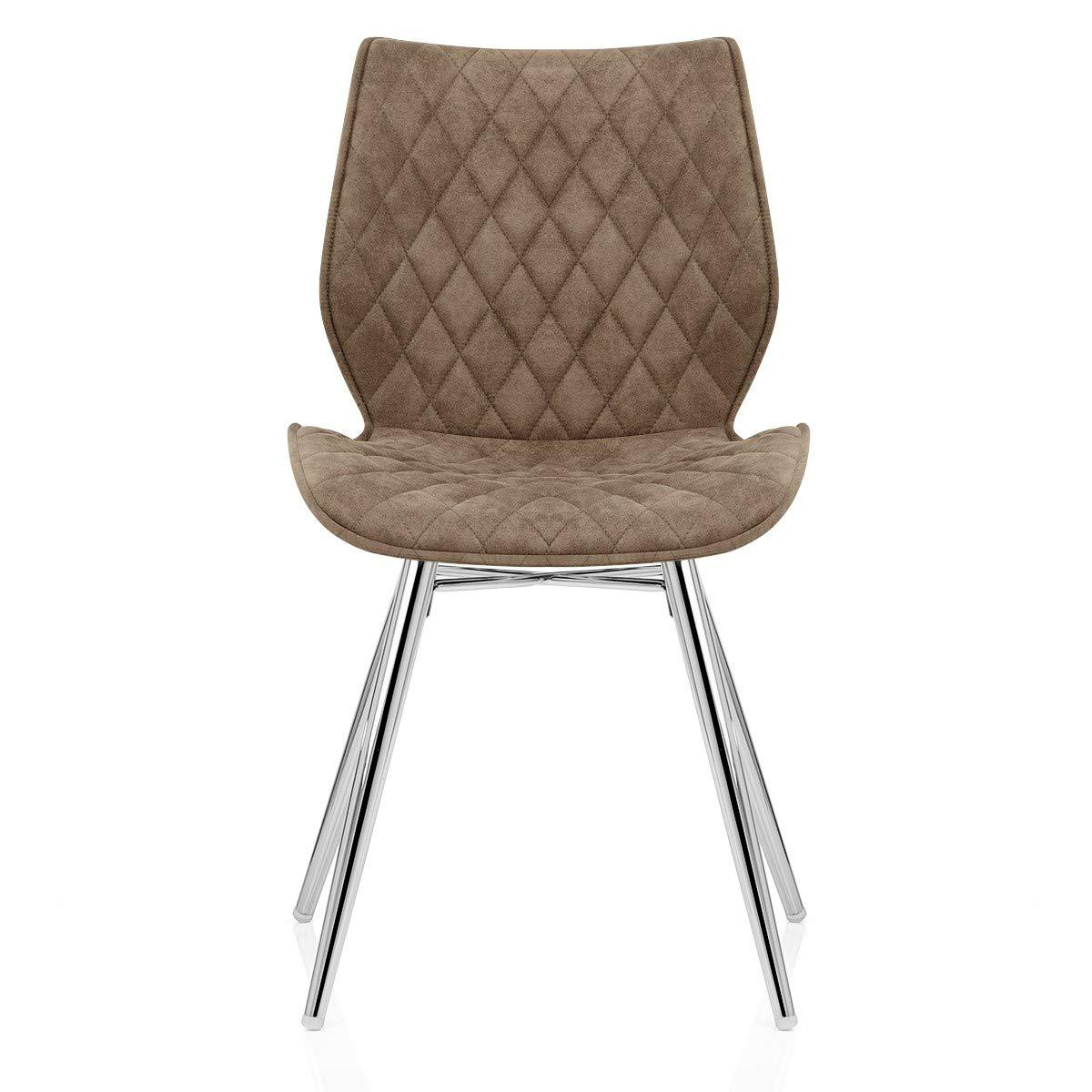 Default Title Pale Pearl Grey / Beige Brown Diamond Seam Back Modern Wipe Clean Leather Fabric Dining Chair Silver Chrome Legs - Pebble & Leaf HomeFurniture