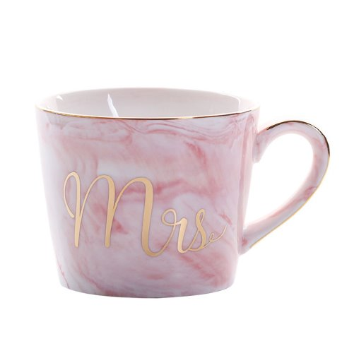 Slant Pink Gold Mrs Luxury Mr & Mrs Pink Blue Grey White Marbled Gold Coffee Tea Cup - Pebble & Leaf HomeLuxury