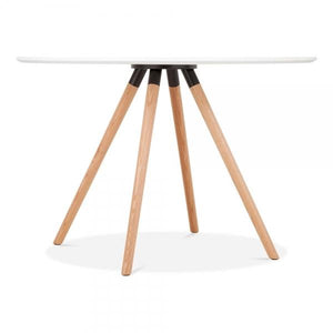 Solid Light Natural Oak Wood and Black Metal Mode Icon C1 White Copper . Gold . Chrome . Black Metal Leg . Dark Wood . Oak Dining Table 110cm - Pebble & Leaf HomeFurniture